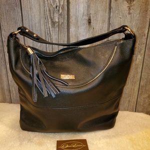 Onna Ehrlich black pebbled leather hobo bag